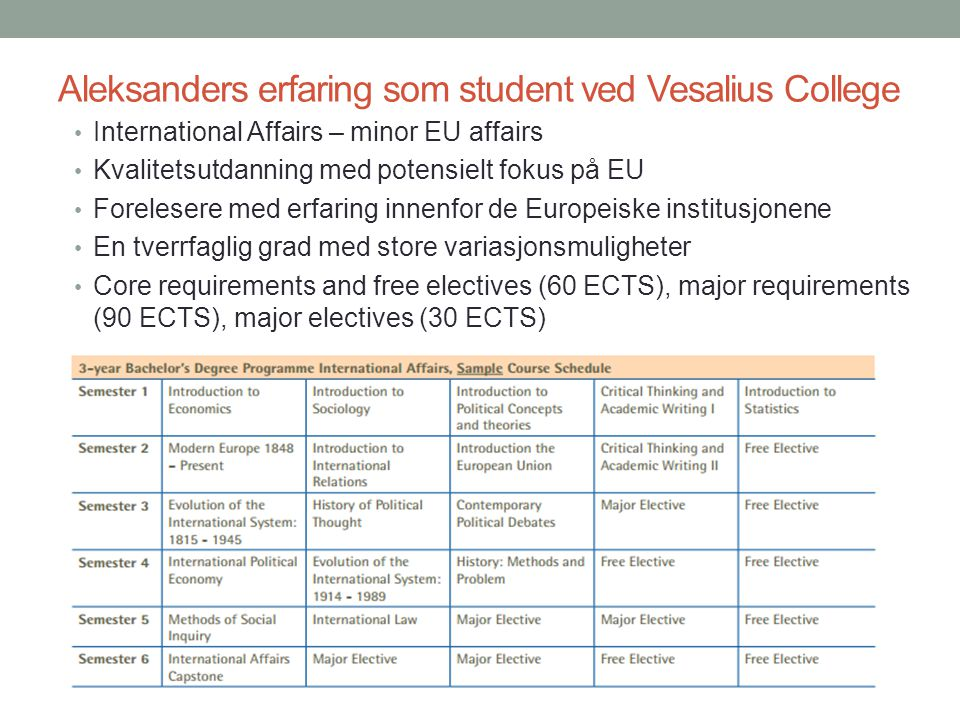 Aleksanders erfaring som student ved Vesalius College • International Affairs – minor EU affairs • Kvalitetsutdanning med potensielt fokus på EU • For