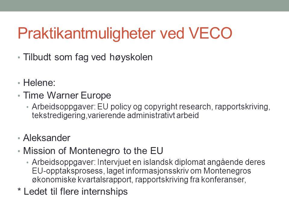 Praktikantmuligheter ved VECO • Tilbudt som fag ved høyskolen • Helene: • Time Warner Europe • Arbeidsoppgaver: EU policy og copyright research, rappo