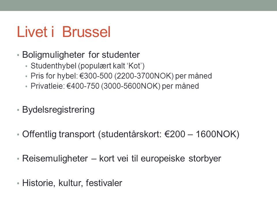 Livet i Brussel • Boligmuligheter for studenter • Studenthybel (populært kalt 'Kot') • Pris for hybel: €300-500 (2200-3700NOK) per måned • Privatleie: €400-750 (3000-5600NOK) per måned • Bydelsregistrering • Offentlig transport (studentårskort: €200 – 1600NOK) • Reisemuligheter – kort vei til europeiske storbyer • Historie, kultur, festivaler
