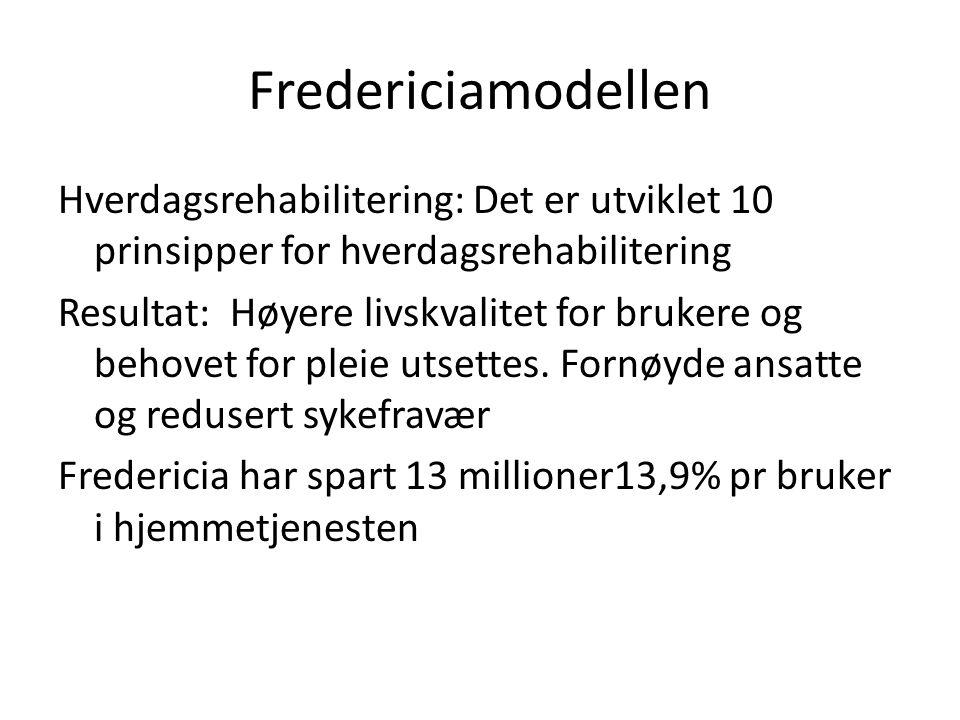 Fredericiamodellen Hverdagsrehabilitering: Det er utviklet 10 prinsipper for hverdagsrehabilitering Resultat: Høyere livskvalitet for brukere og behovet for pleie utsettes.