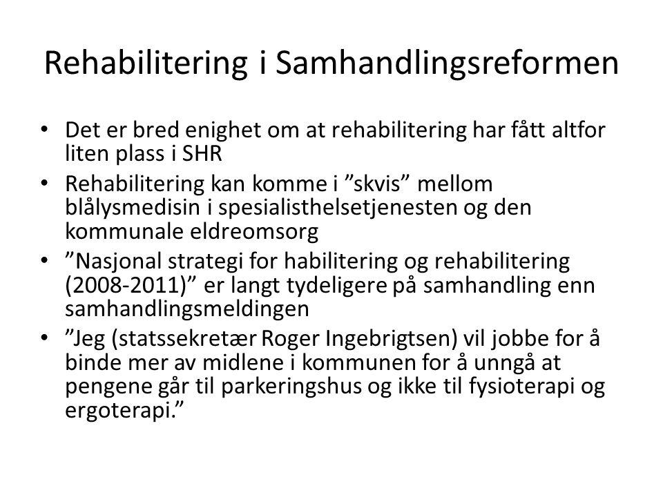 Konklusjon vedr ergoterapi •Rehabilitering i hjemmemiljøet etter akuttfasen er gunstig •Forutsetter at det er nok ressurser i kommunehelsetjenesten.