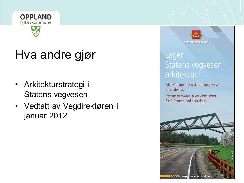 Hva andre gjør •Arkitekturstrategi i Statens vegvesen •Vedtatt av Vegdirektøren i januar 2012
