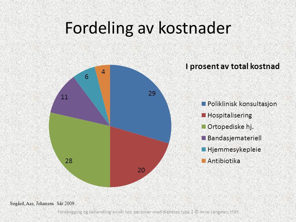 Fordeling av kostnader Forebygging og behandling av sår hos personer med diabetes type 2 © Arne Langøen, HSH Søgård, Aas, Johansen. Sår 2009.