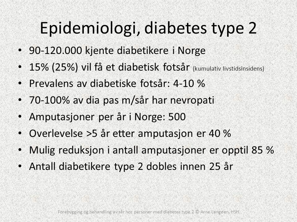 Epidemiologi, diabetes type 2 • 90-120.000 kjente diabetikere i Norge • 15% (25%) vil få et diabetisk fotsår (kumulativ livstidsinsidens) • Prevalens