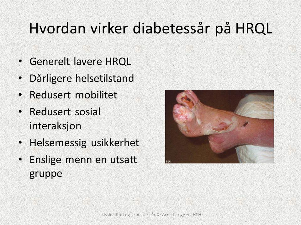 Hvordan virker diabetessår på HRQL • Generelt lavere HRQL • Dårligere helsetilstand • Redusert mobilitet • Redusert sosial interaksjon • Helsemessig u