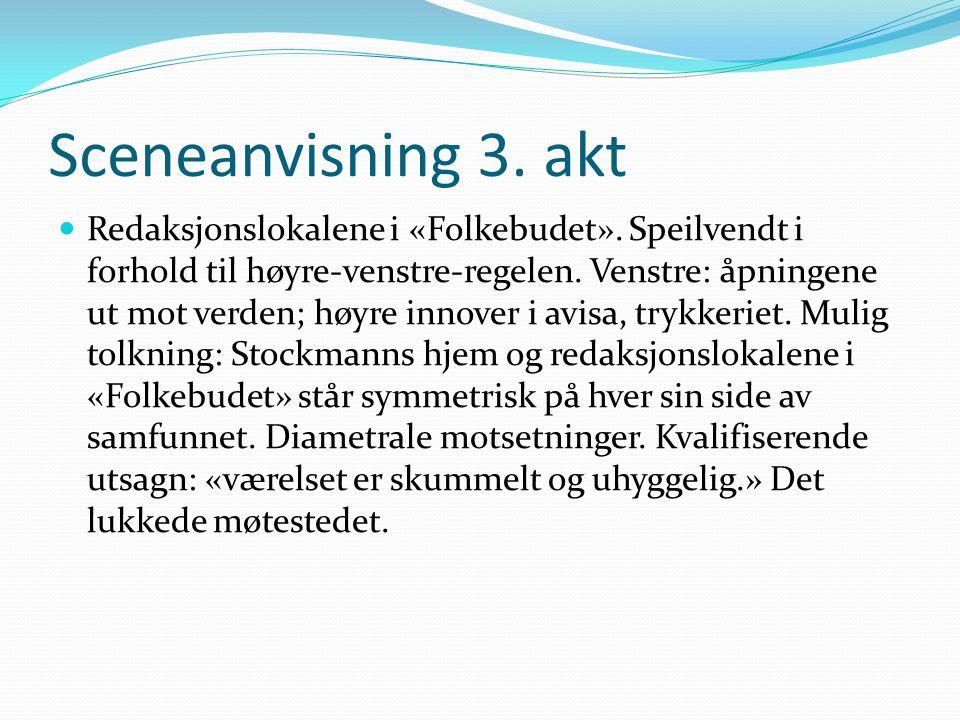 Sceneanvisning 3. akt  Redaksjonslokalene i «Folkebudet». Speilvendt i forhold til høyre-venstre-regelen. Venstre: åpningene ut mot verden; høyre inn