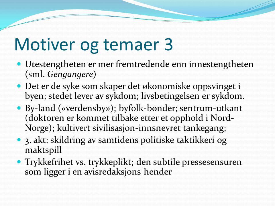 Motiver og temaer 3  Utestengtheten er mer fremtredende enn innestengtheten (sml. Gengangere)  Det er de syke som skaper det økonomiske oppsvinget i
