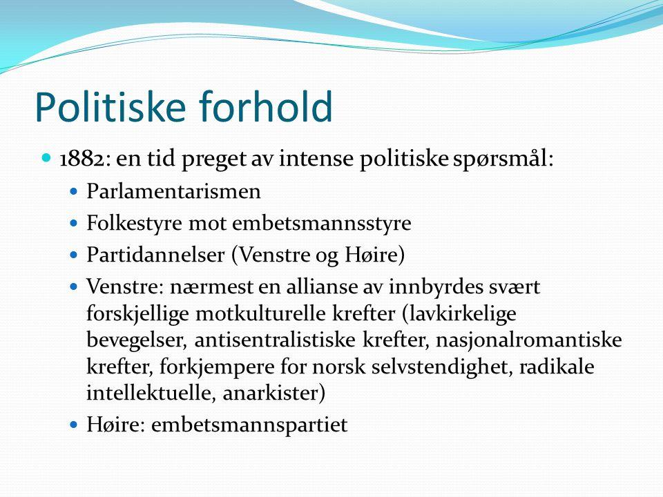 Politiske forhold  1882: en tid preget av intense politiske spørsmål:  Parlamentarismen  Folkestyre mot embetsmannsstyre  Partidannelser (Venstre