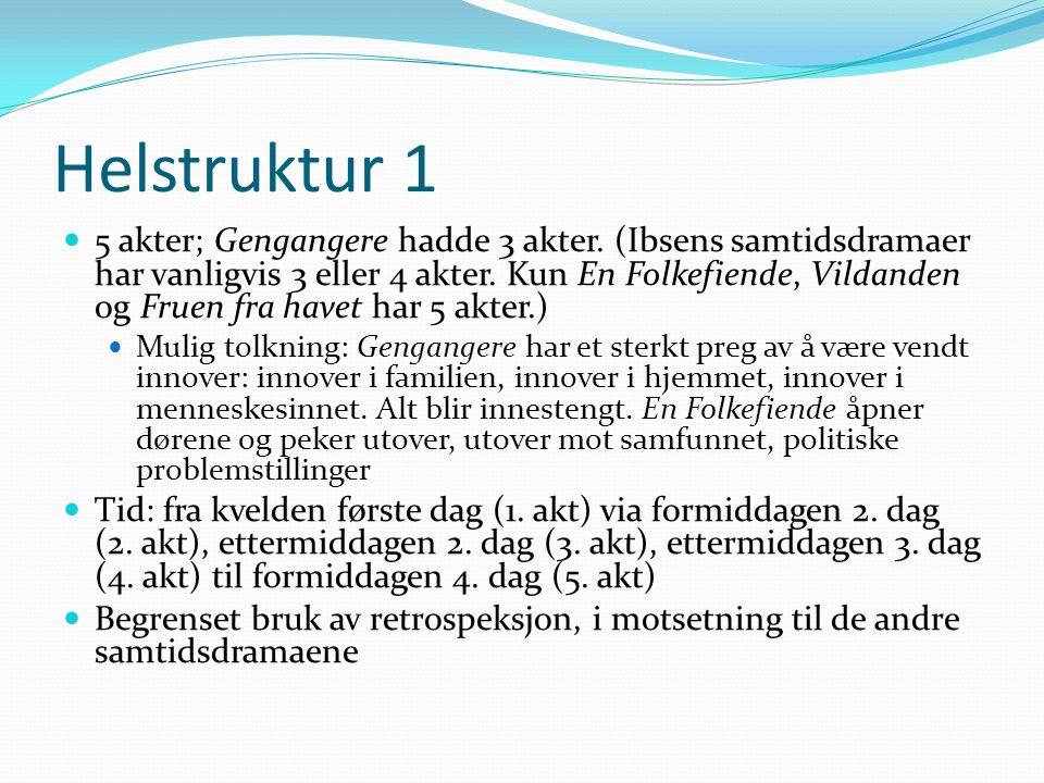 Helstruktur 1  5 akter; Gengangere hadde 3 akter. (Ibsens samtidsdramaer har vanligvis 3 eller 4 akter. Kun En Folkefiende, Vildanden og Fruen fra ha