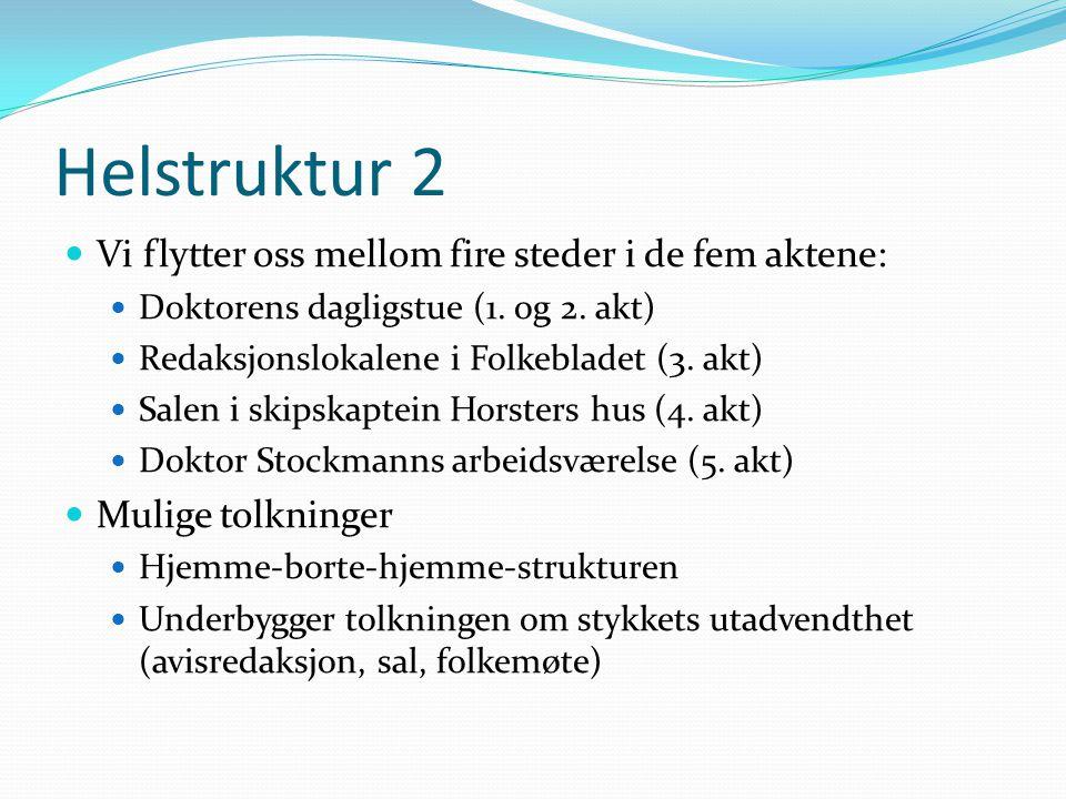 Helstruktur 2  Vi flytter oss mellom fire steder i de fem aktene:  Doktorens dagligstue (1. og 2. akt)  Redaksjonslokalene i Folkebladet (3. akt) 