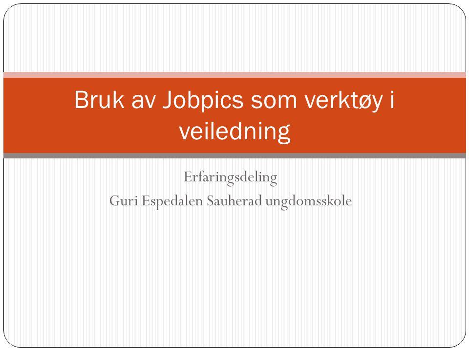 Erfaringsdeling Guri Espedalen Sauherad ungdomsskole Bruk av Jobpics som verktøy i veiledning