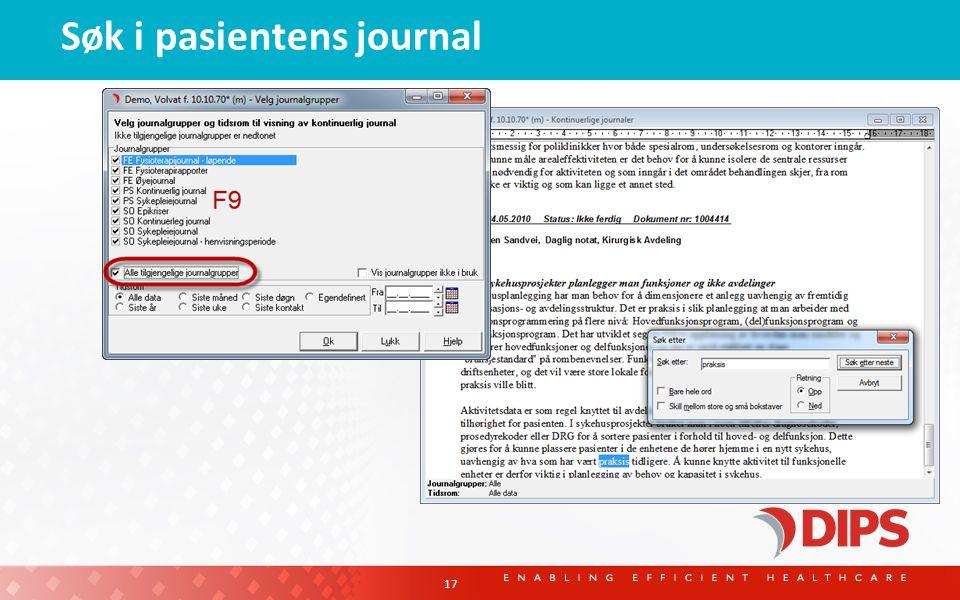 Søk i pasientens journal 17