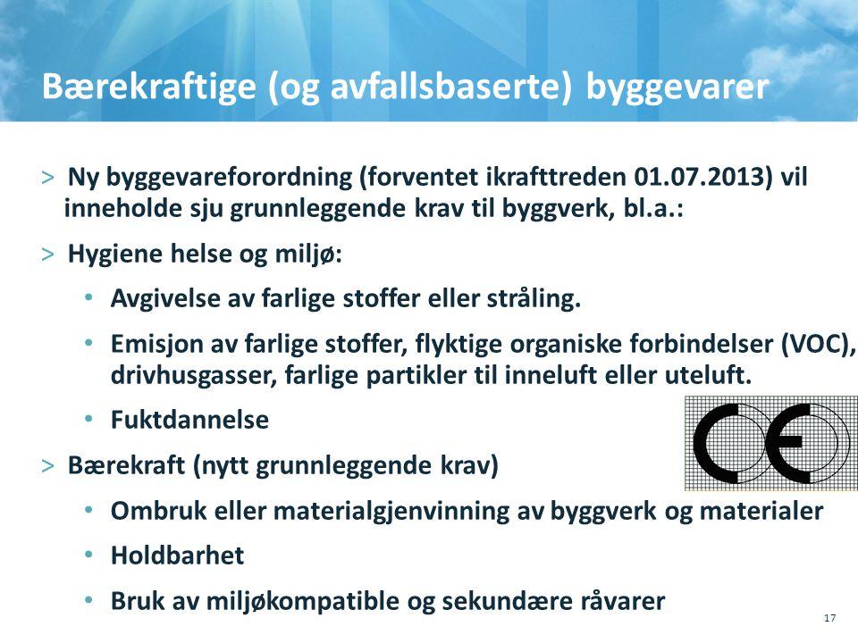 Bærekraftige (og avfallsbaserte) byggevarer >Ny byggevareforordning (forventet ikrafttreden 01.07.2013) vil inneholde sju grunnleggende krav til byggverk, bl.a.: >Hygiene helse og miljø: • Avgivelse av farlige stoffer eller stråling.
