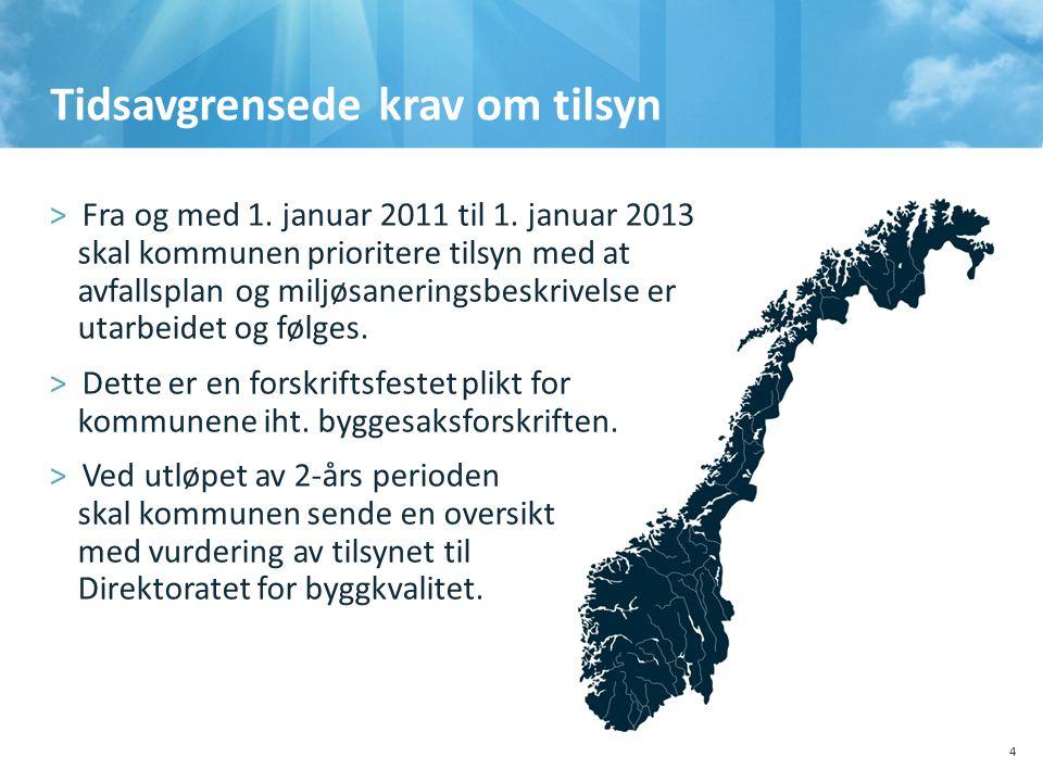Tidsavgrensede krav om tilsyn >Fra og med 1. januar 2011 til 1. januar 2013 skal kommunen prioritere tilsyn med at avfallsplan og miljøsaneringsbeskri