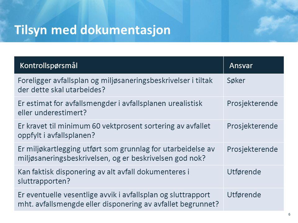 Tilsyn med dokumentasjon 6 KontrollspørsmålAnsvar Foreligger avfallsplan og miljøsaneringsbeskrivelser i tiltak der dette skal utarbeides? Søker Er es