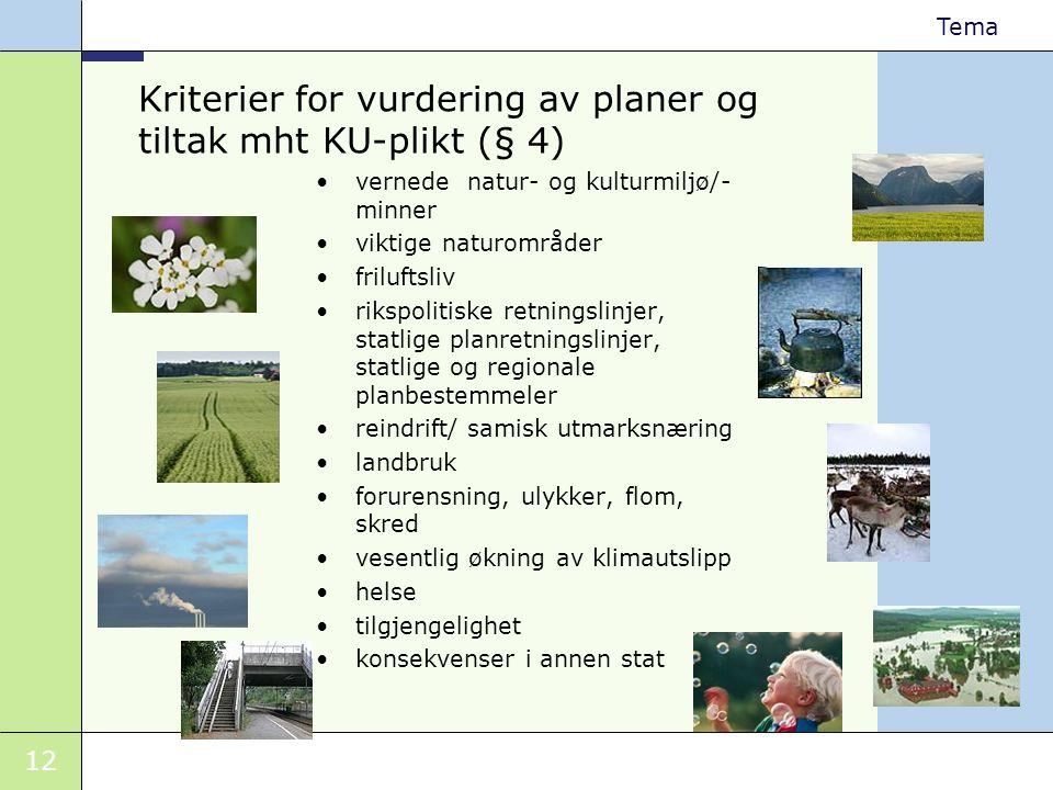 12 Tema Kriterier for vurdering av planer og tiltak mht KU-plikt (§ 4) •vernede natur- og kulturmiljø/- minner •viktige naturområder •friluftsliv •rik