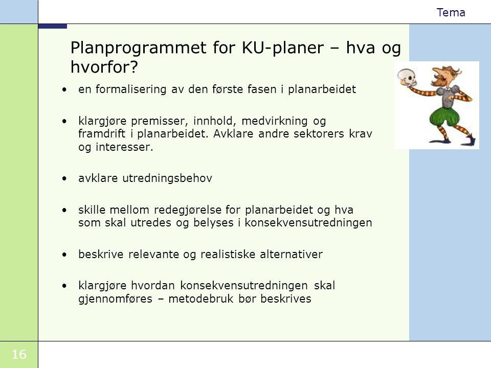 16 Tema Planprogrammet for KU-planer – hva og hvorfor? •en formalisering av den første fasen i planarbeidet •klargjøre premisser, innhold, medvirkning