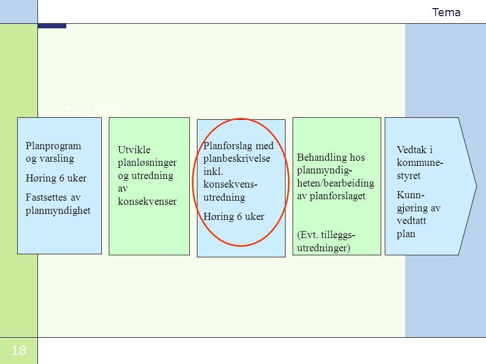 18 Tema •6 uker Planprogram og varsling Høring 6 uker Fastsettes av planmyndighet Utvikle planløsninger og utredning av konsekvenser Planforslag med p