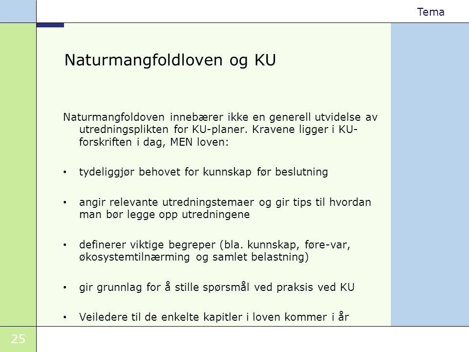 25 Tema Naturmangfoldloven og KU Naturmangfoldoven innebærer ikke en generell utvidelse av utredningsplikten for KU-planer. Kravene ligger i KU- forsk