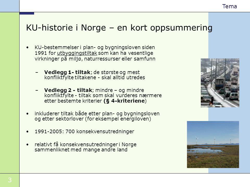 3 Tema KU-historie i Norge – en kort oppsummering •KU-bestemmelser i plan- og bygningsloven siden 1991 for utbyggingstiltak som kan ha vesentlige virk