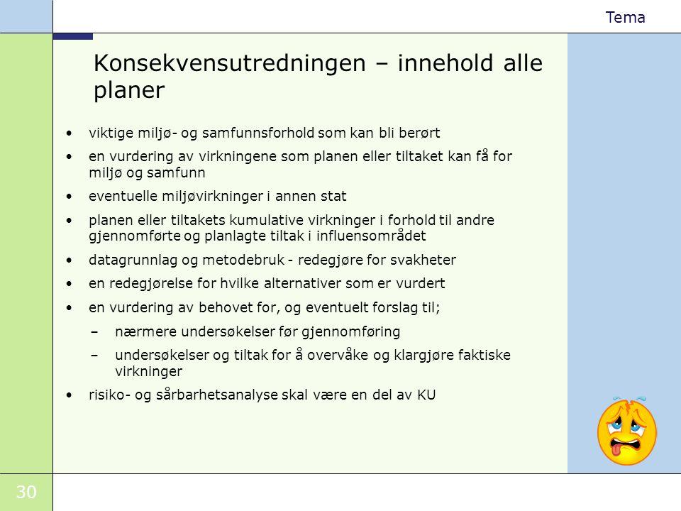 30 Tema Konsekvensutredningen – innehold alle planer •viktige miljø- og samfunnsforhold som kan bli berørt •en vurdering av virkningene som planen ell