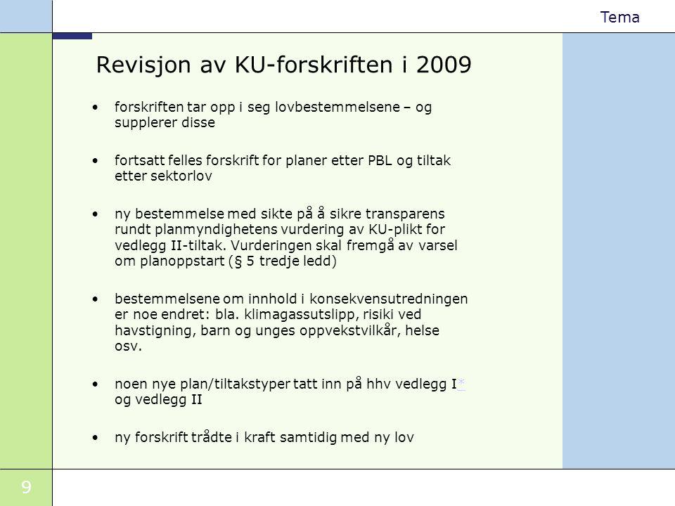 9 Tema Revisjon av KU-forskriften i 2009 •forskriften tar opp i seg lovbestemmelsene – og supplerer disse •fortsatt felles forskrift for planer etter