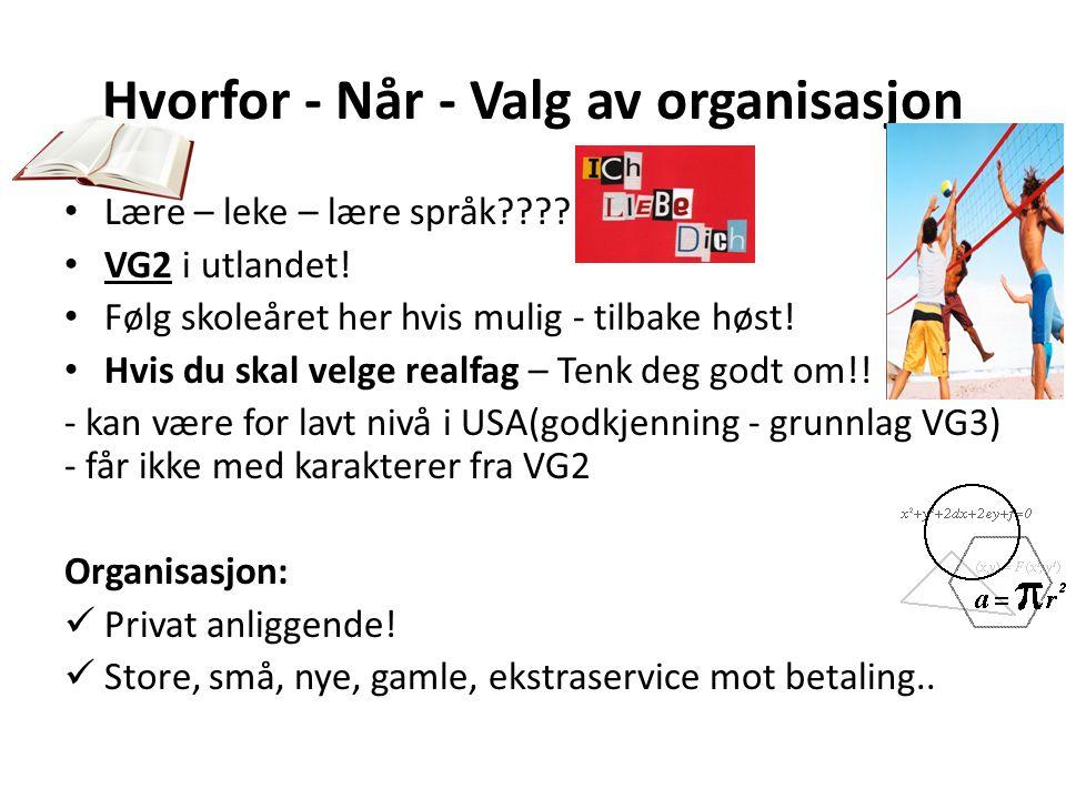 Hvorfor - Når - Valg av organisasjon • Lære – leke – lære språk???? • VG2 i utlandet! • Følg skoleåret her hvis mulig - tilbake høst! • Hvis du skal v