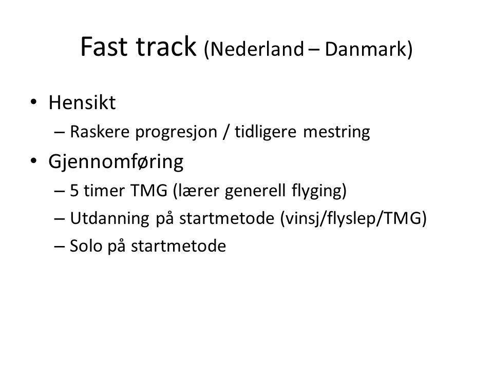 Fast track (Nederland – Danmark) • Hensikt – Raskere progresjon / tidligere mestring • Gjennomføring – 5 timer TMG (lærer generell flyging) – Utdanning på startmetode (vinsj/flyslep/TMG) – Solo på startmetode