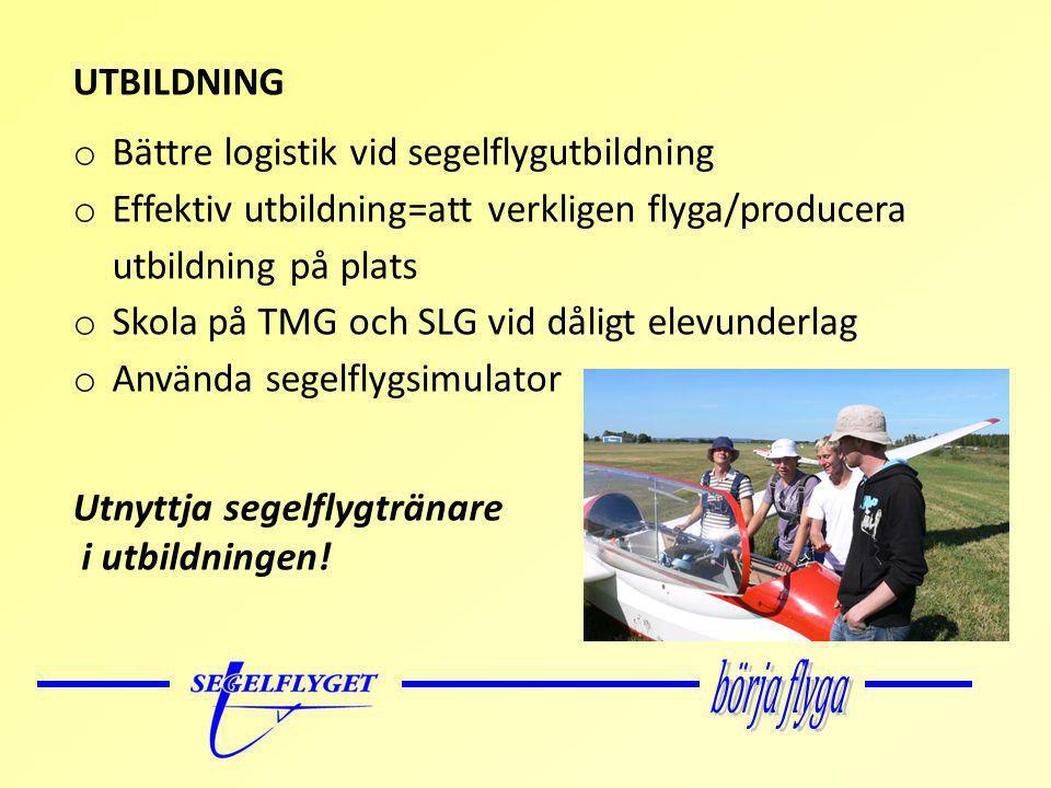 UTBILDNING o Bättre logistik vid segelflygutbildning o Effektiv utbildning=att verkligen flyga/producera utbildning på plats o Skola på TMG och SLG vid dåligt elevunderlag o Använda segelflygsimulator Utnyttja segelflygtränare i utbildningen!