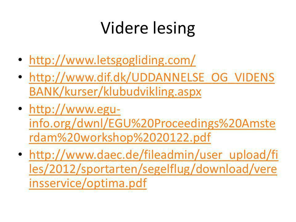Videre lesing • http://www.letsgogliding.com/ http://www.letsgogliding.com/ • http://www.dif.dk/UDDANNELSE_OG_VIDENS BANK/kurser/klubudvikling.aspx ht