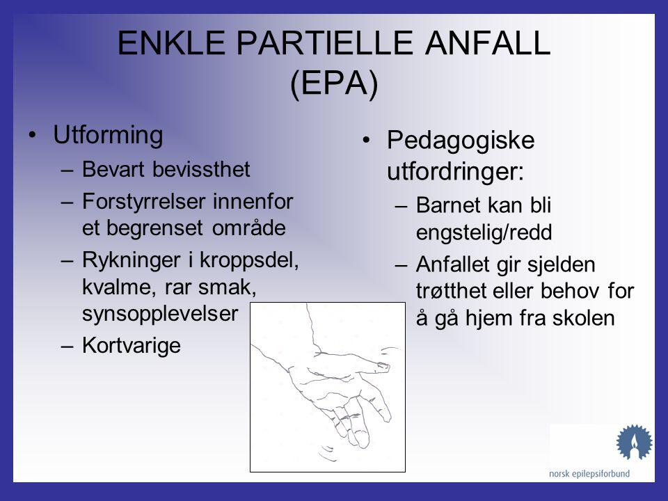 PARTIELT ANFALL SEKUNDÆR GENERALISERING Epileptisk aktivitet som starter i en avgrenset del av hjernen Epileptisk aktivitet spres til begge hjernehalv
