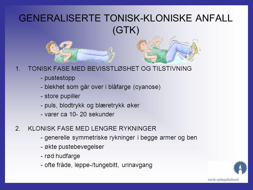 Generaliserte anfall MYOKLONE ANFALL •Utforming –Bevart bevissthet –Kortvarige rykk i armer eller skuldre, av og til også i beina –Hyppigst etter oppv