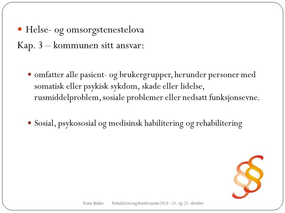 Runa Bakke Rehabiliteringskonferansen 2013 - 24. og 25. oktober  Helse- og omsorgstenestelova Kap. 3 – kommunen sitt ansvar:  omfatter alle pasient-