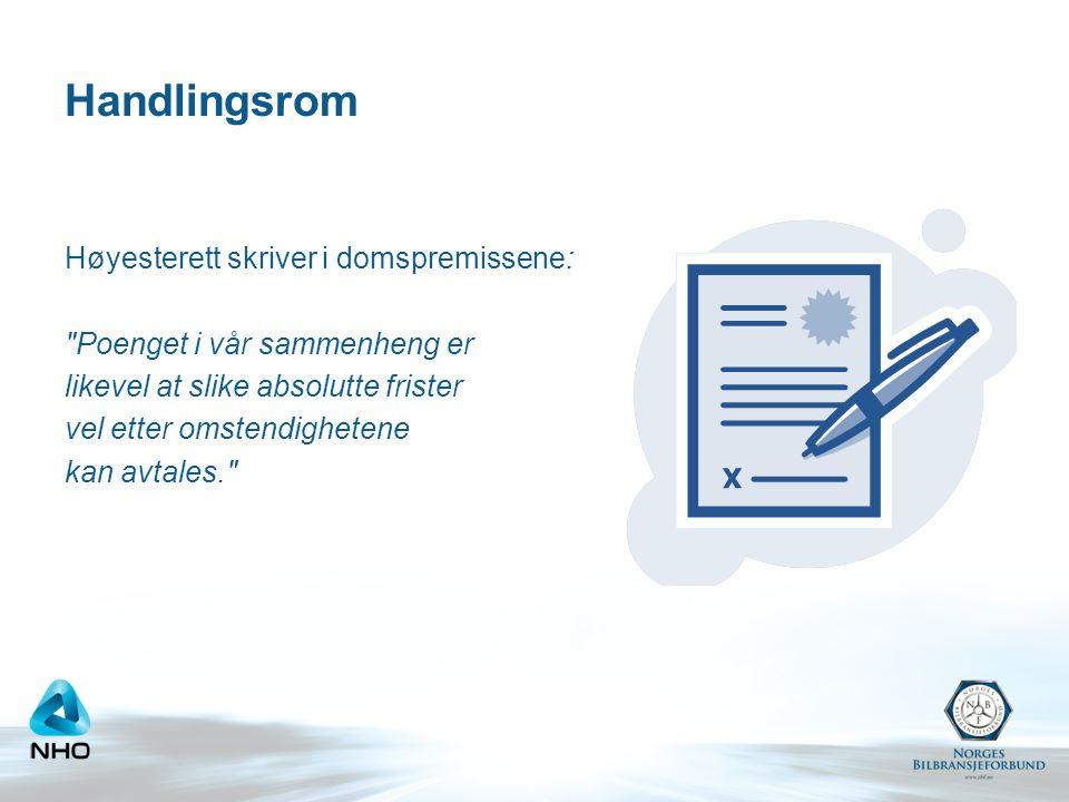 NBFs tolkning av Høyesteretts utsagn •Det er en viss avtalefrihet for klager over mangelsutbedringer.