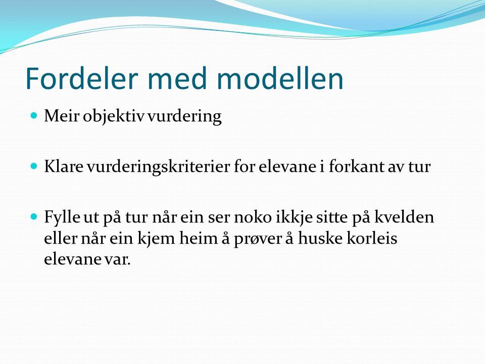 Fordeler med modellen  Meir objektiv vurdering  Klare vurderingskriterier for elevane i forkant av tur  Fylle ut på tur når ein ser noko ikkje sitt