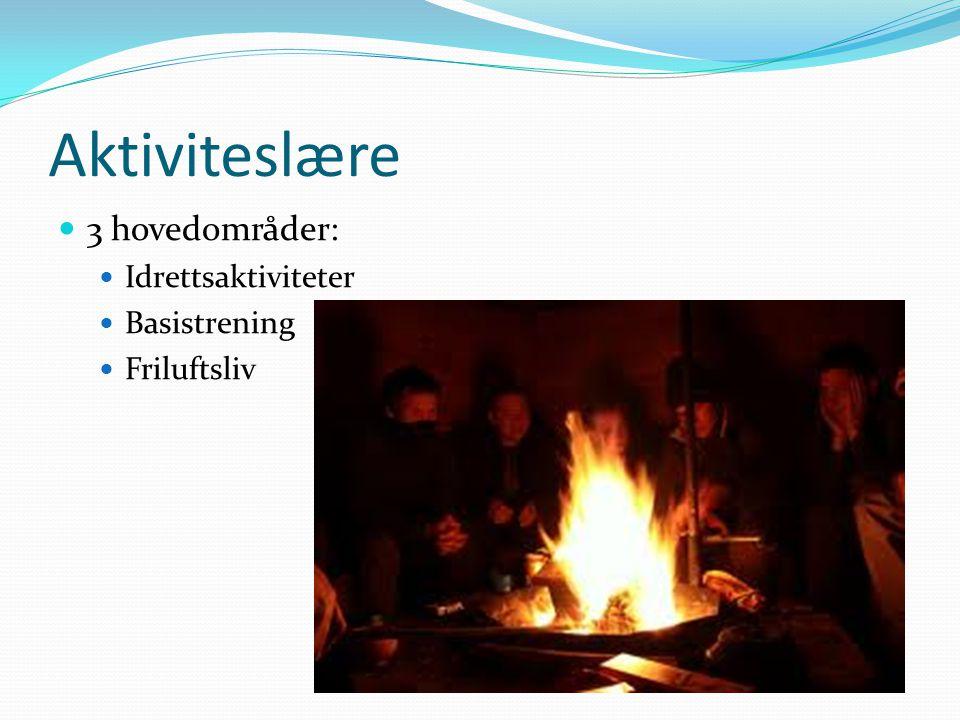 Aktiviteslære  3 hovedområder:  Idrettsaktiviteter  Basistrening  Friluftsliv