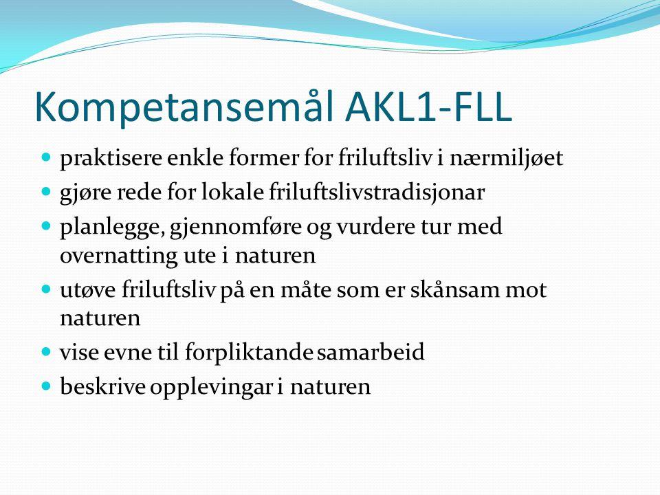 Kompetansemål AKL1-FLL  praktisere enkle former for friluftsliv i nærmiljøet  gjøre rede for lokale friluftslivstradisjonar  planlegge, gjennomføre