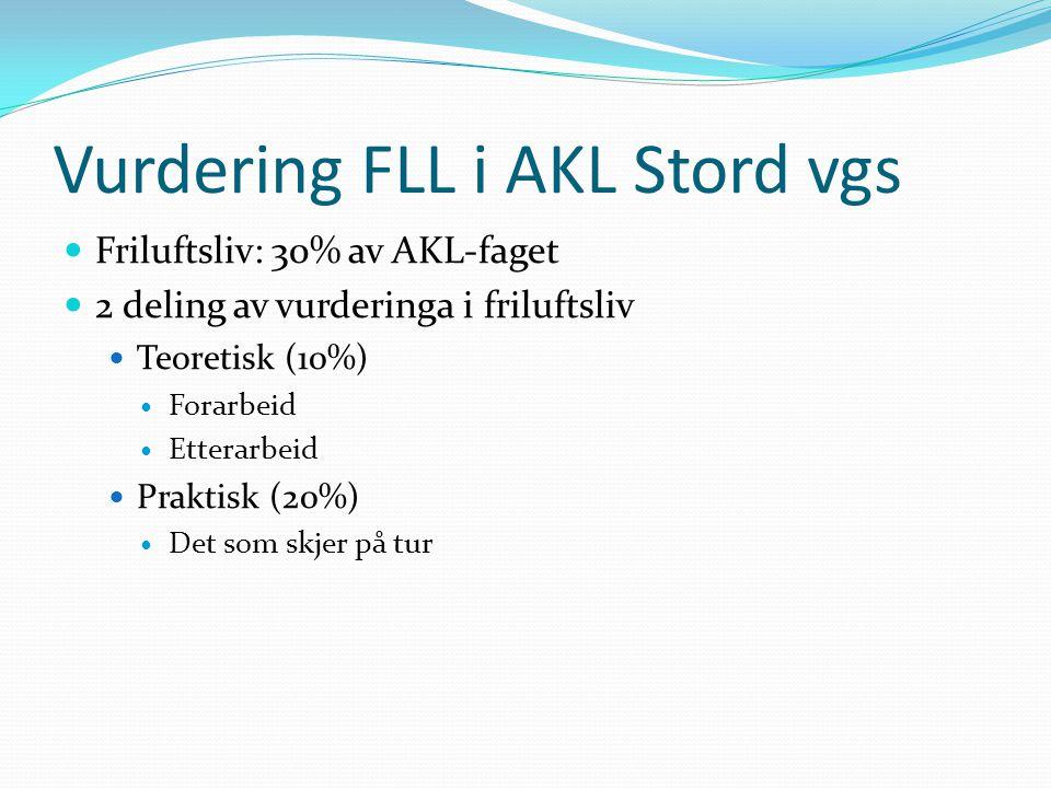 Vurdering FLL i AKL Stord vgs  Friluftsliv: 30% av AKL-faget  2 deling av vurderinga i friluftsliv  Teoretisk (10%)  Forarbeid  Etterarbeid  Pra