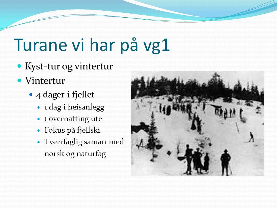 Turane vi har på vg1  Kyst-tur og vintertur  Vintertur  4 dager i fjellet  1 dag i heisanlegg  1 overnatting ute  Fokus på fjellski  Tverrfagli