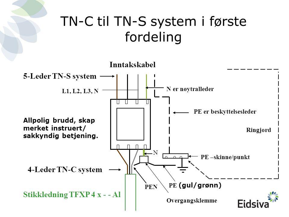 TN-C til TN-S system i første fordeling PE (gul/grønn) PE –skinne/punkt PE er beskyttelsesleder PEN L1, L2, L3, N Overgangsklemme N er nøytralleder Ri