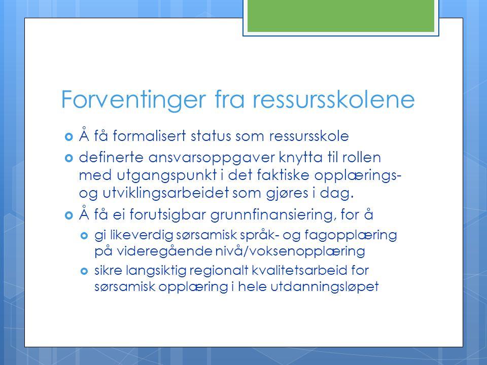 Forventinger fra ressursskolene  Å få formalisert status som ressursskole  definerte ansvarsoppgaver knytta til rollen med utgangspunkt i det faktis