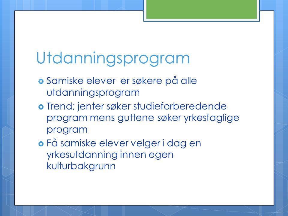 Utdanningsprogram  Samiske elever er søkere på alle utdanningsprogram  Trend; jenter søker studieforberedende program mens guttene søker yrkesfaglig