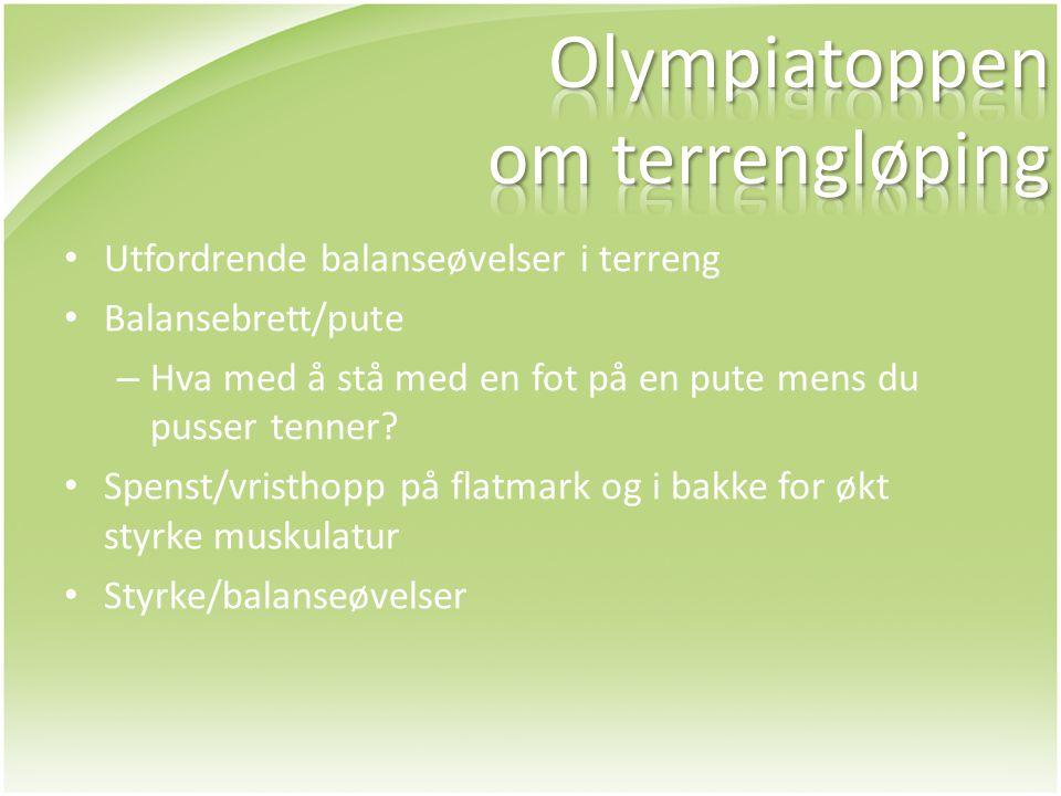 • Utfordrende balanseøvelser i terreng • Balansebrett/pute – Hva med å stå med en fot på en pute mens du pusser tenner? • Spenst/vristhopp på flatmark