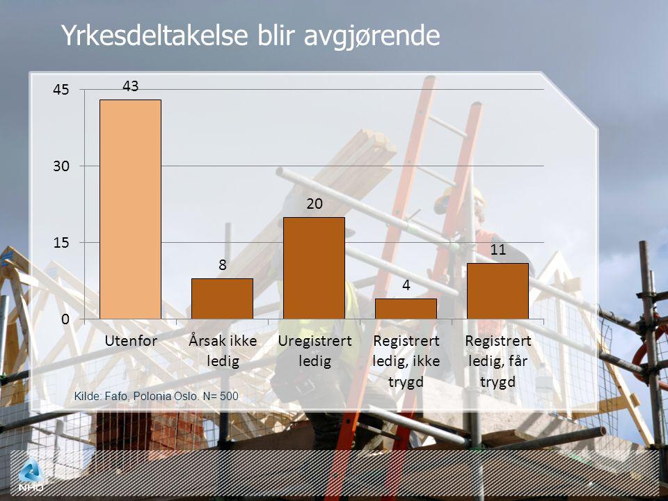 Yrkesdeltakelse blir avgjørende Kilde: Fafo, Polonia Oslo. N= 500