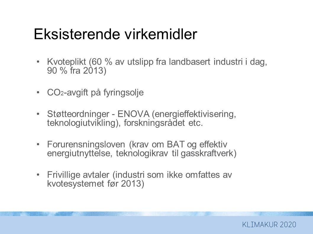 Eksisterende virkemidler •Kvoteplikt (60 % av utslipp fra landbasert industri i dag, 90 % fra 2013) •CO 2 -avgift på fyringsolje •Støtteordninger - ENOVA (energieffektivisering, teknologiutvikling), forskningsrådet etc.