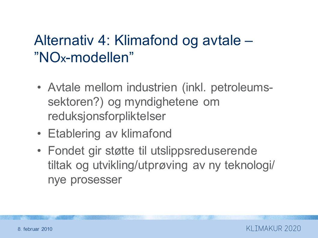 Alternativ 4: Klimafond og avtale – NO x -modellen •Avtale mellom industrien (inkl.