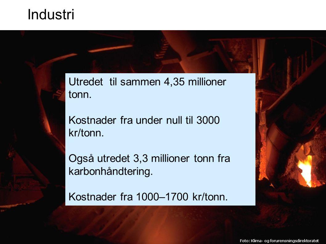 Industri Foto: Klima- og forurensningsdirektoratet Utredet til sammen 4,35 millioner tonn.