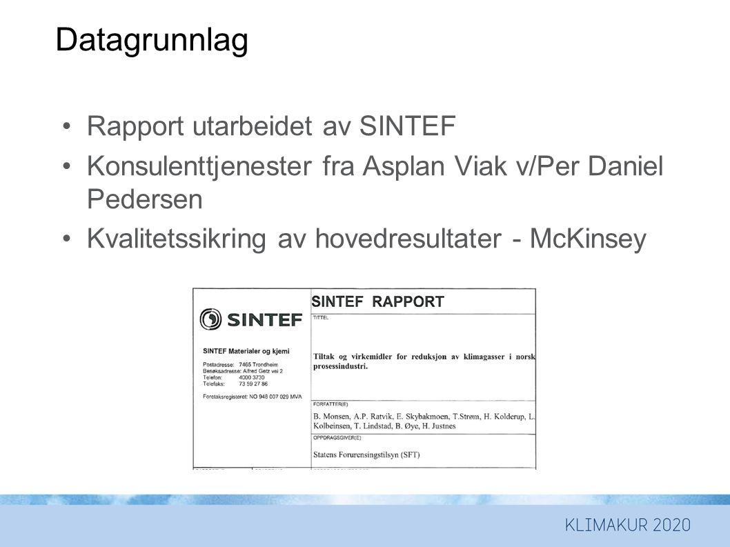 Datagrunnlag •Rapport utarbeidet av SINTEF •Konsulenttjenester fra Asplan Viak v/Per Daniel Pedersen •Kvalitetssikring av hovedresultater - McKinsey