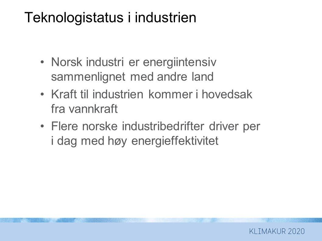 Teknologistatus i industrien •Norsk industri er energiintensiv sammenlignet med andre land •Kraft til industrien kommer i hovedsak fra vannkraft •Flere norske industribedrifter driver per i dag med høy energieffektivitet