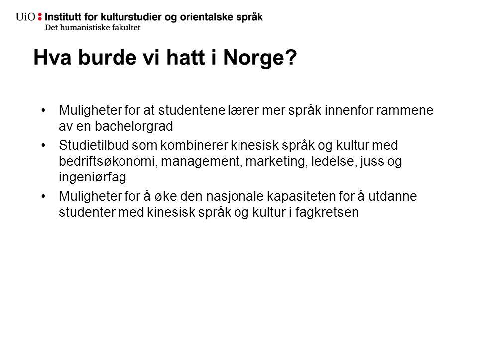 Hva burde vi hatt i Norge.